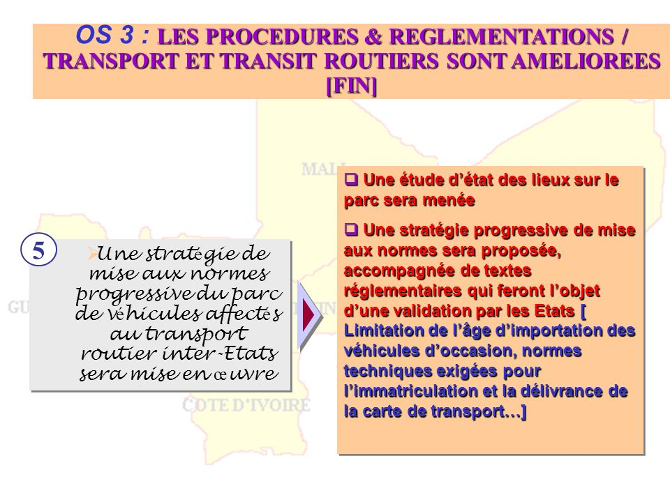 OS 3 : LES PROCEDURES & REGLEMENTATIONS / TRANSPORT ET TRANSIT ROUTIERS SONT AMELIOREES [FIN]